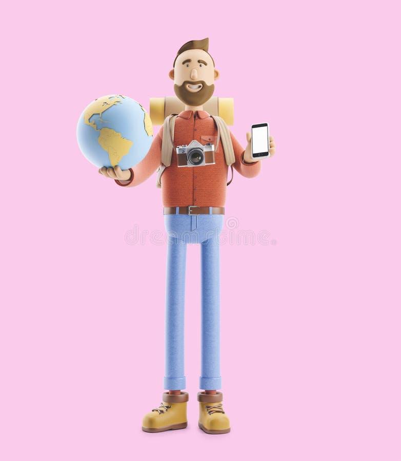O turista do personagem de banda desenhada está com um grandes ponteiro e globo do mapa ilustração 3D Conceito da viagem ilustração stock