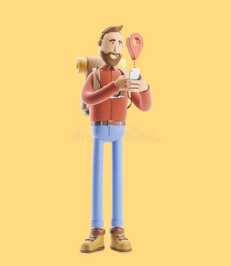 O turista do personagem de banda desenhada está com um grandes ponteiro e telefone do mapa em suas mãos ilustração 3D ilustração stock