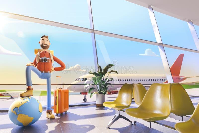 O turista do personagem de banda desenhada mantém o mundo inteiro na palma no aeroporto ilustração 3D Conceito do curso do mundo ilustração royalty free