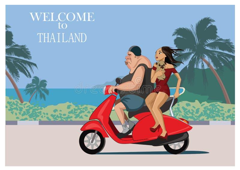 O turista europeu monta um 'trotinette' com uma menina bonita tailandesa Tailândia - ilustração do vetor ilustração stock