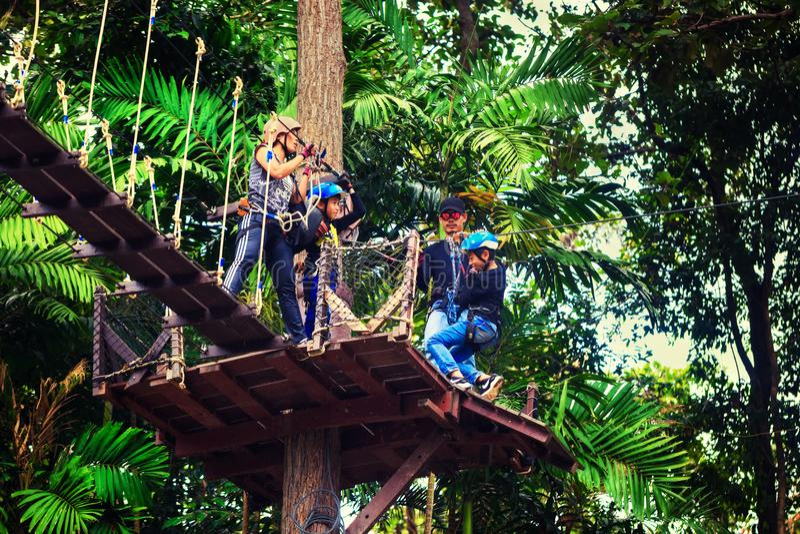 O turista feliz do curso da família aprecia uma viagem emocionante em um da atração turística a mais popular, voo de Gibbon fotos de stock royalty free