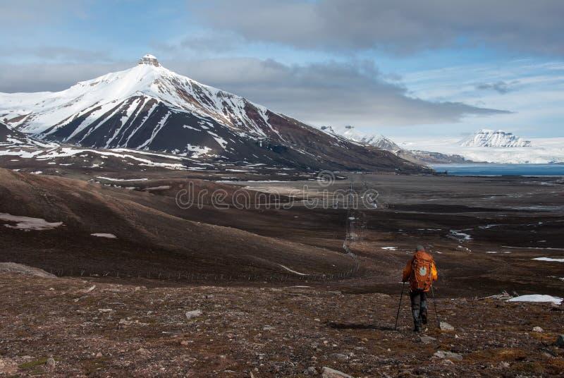O turista só que caminha para a neve tampou a montanha na cidade fantasma Pyramiden do russo no arquipélago de Svalbard fotografia de stock