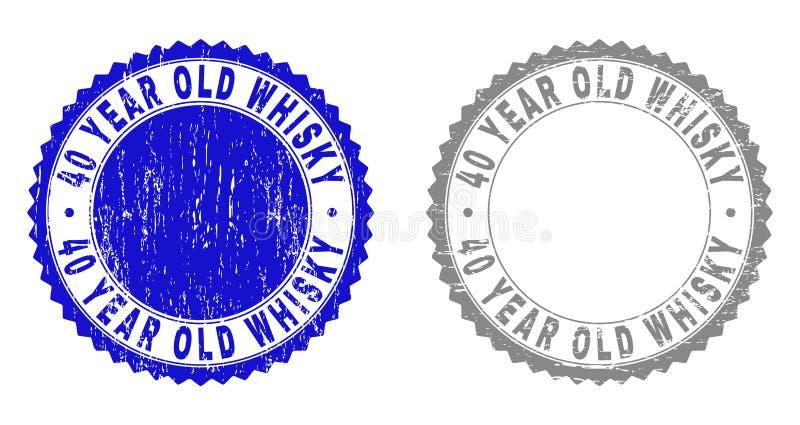 O UÍSQUE Textured das PESSOAS DE 40 ANOS riscou selos do selo com fita ilustração stock