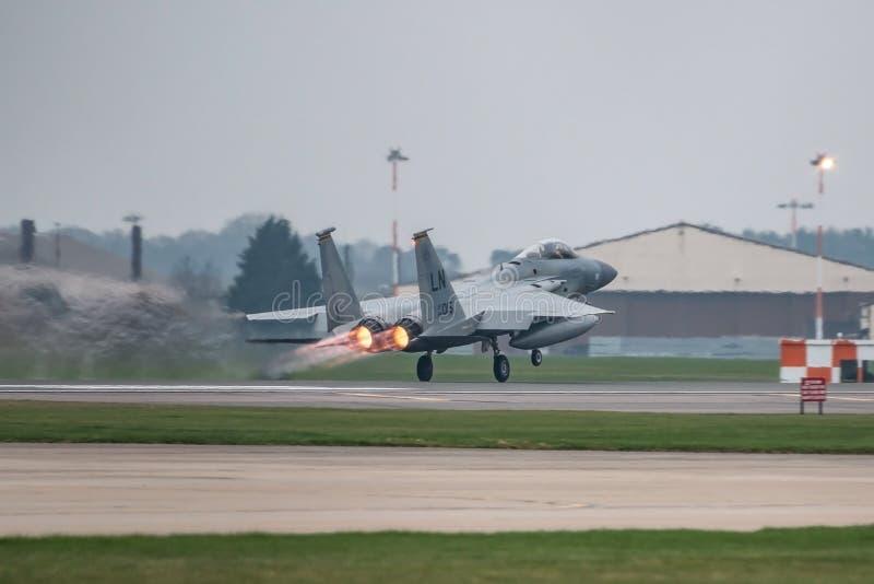 O U.S.A.F. de RAF Lakenheath F-15 jorra fotografia de stock royalty free