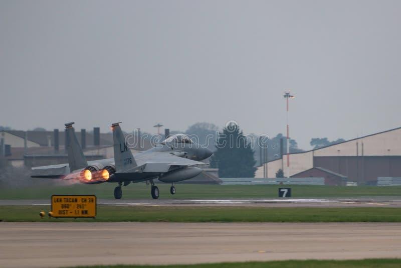 O U.S.A.F. de RAF Lakenheath F-15 jorra fotografia de stock