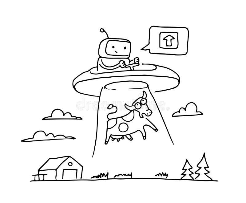 O UFO do esboço rouba uma vaca Caráter do estrangeiro do robô página de 404 erros não Em pires de voo Linha preta tirada mão veto ilustração stock