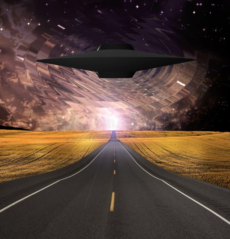 O UFO emerge sobre a estrada ilustração do vetor