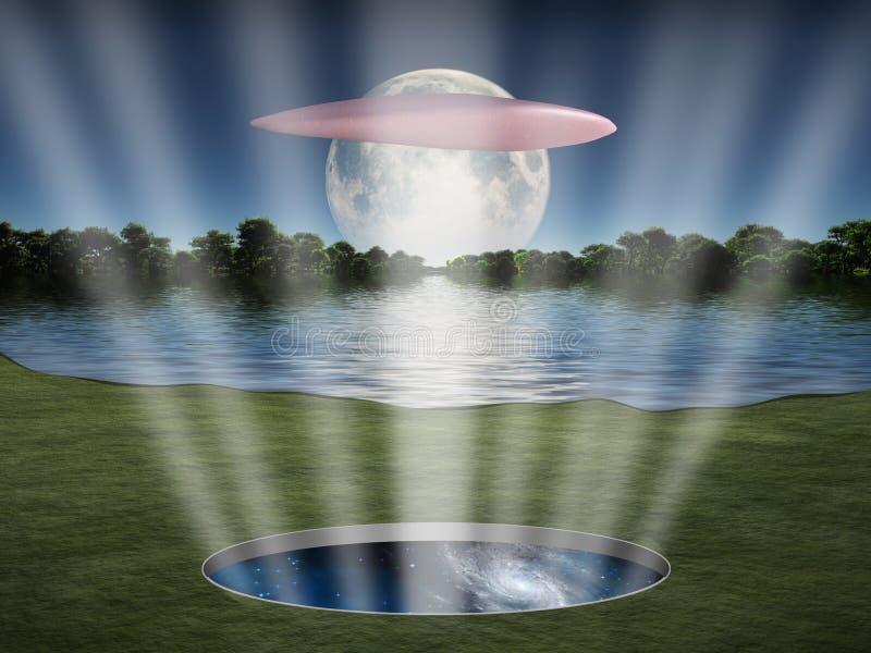 O UFO paira sobre o portal do espaço fotos de stock