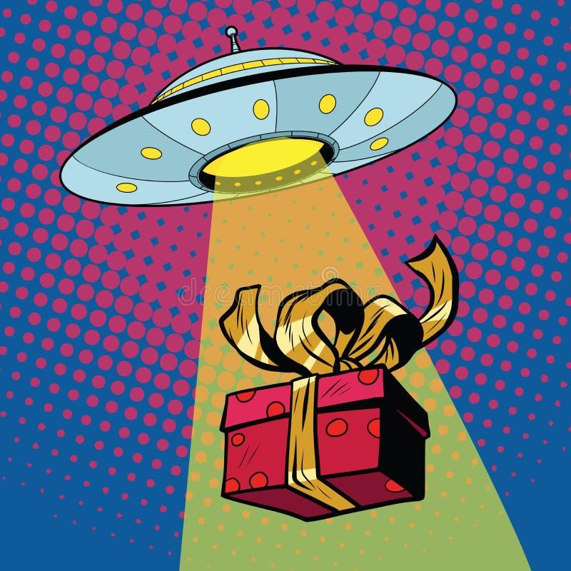 O UFO sequestra a caixa de presente ilustração do vetor