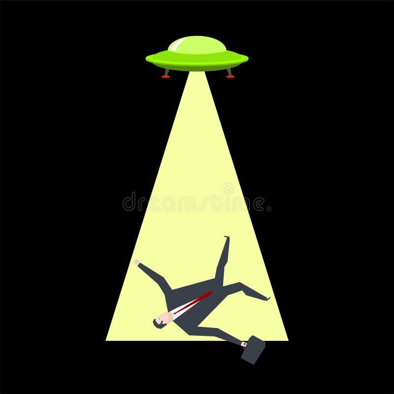 O UFO toma o homem de negócios Os estrangeiros sequestram o chefe Vida do escritório ilustração royalty free