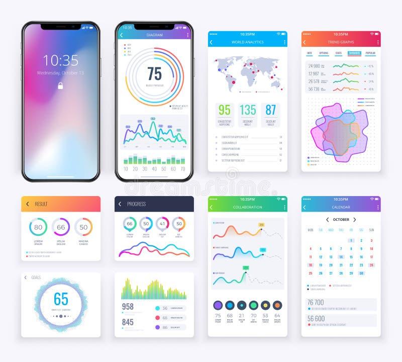 O ui de Smartphone ajustou-se com gráficos de negócio dos dados para o app móvel ilustração do vetor