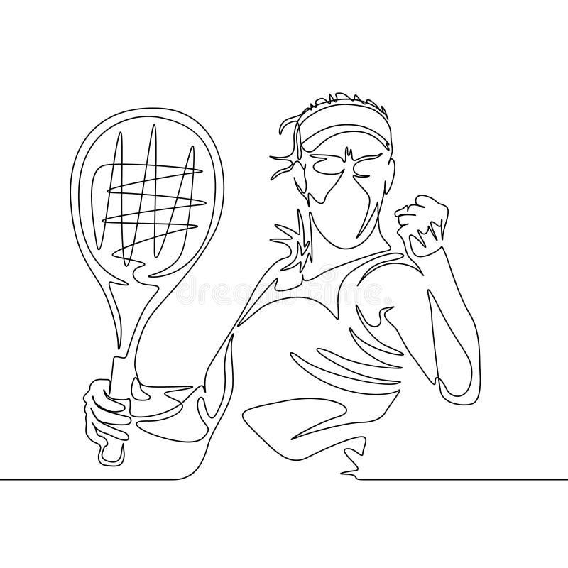 O um a lápis contínuo jogador de tênis da mulher do desenho aperta seu punho na posição de vencimento ilustração do vetor
