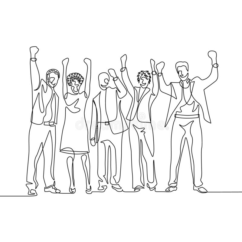 O um a lápis contínuo trabalhadores de escritório felizes da equipe do desenho comemora o sucesso ilustração stock