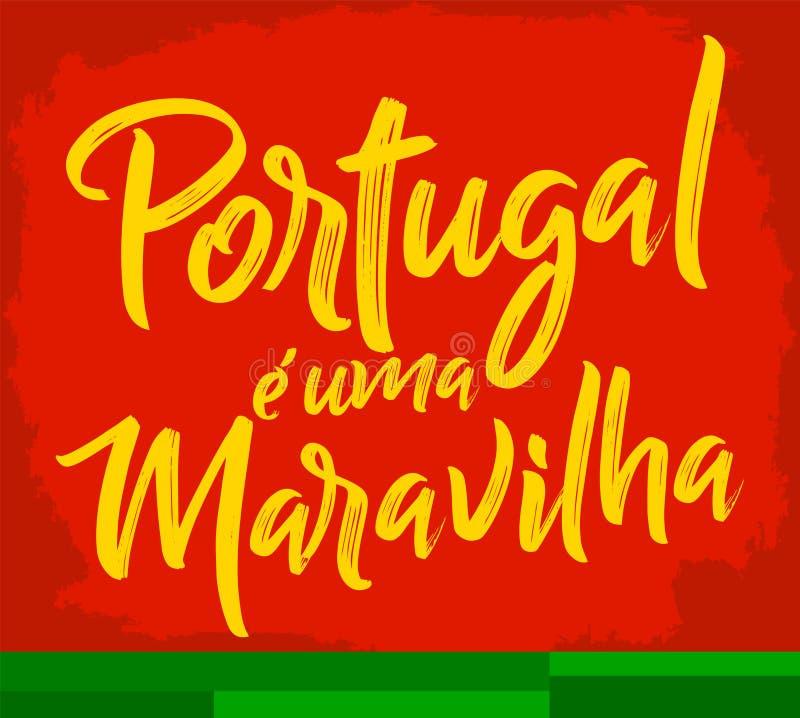 O uma Maravilha de Portugal e, Portugal é um texto português da maravilha ilustração stock