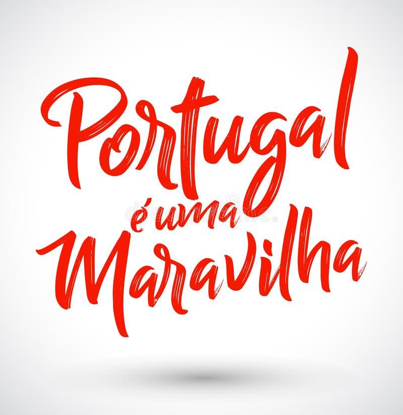 O uma Maravilha de Portugal e, Portugal é um texto português da maravilha ilustração do vetor