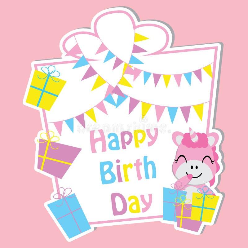 O unicórnio bonito com caixas de presente coloridas e a bandeira no quadro vector desenhos animados, cartão do aniversário, papel ilustração royalty free