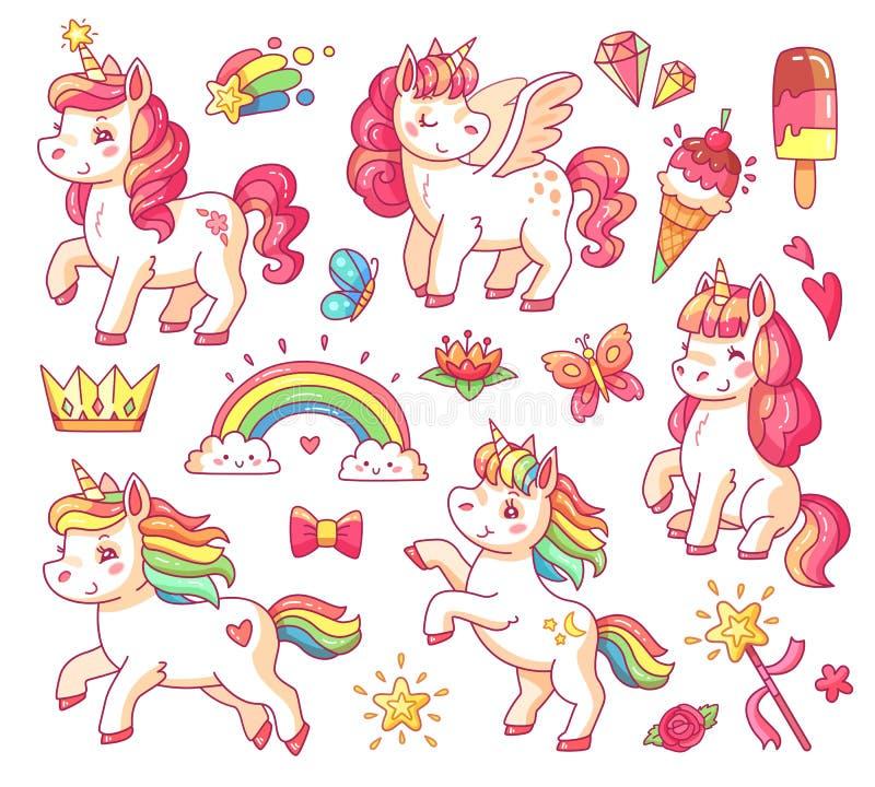O unicórnio bonito do arco-íris do bebê do voo com estrelas do ouro e doce gelado Vetor pequeno mágico dos desenhos animados dos  ilustração stock