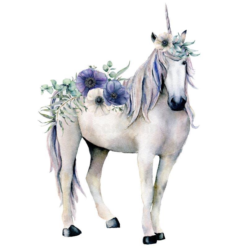O unicórnio branco elegante da aquarela com anêmona floresce o ramalhete Anêmona mágica pintado à mão do cavalo, a branca e a azu ilustração do vetor