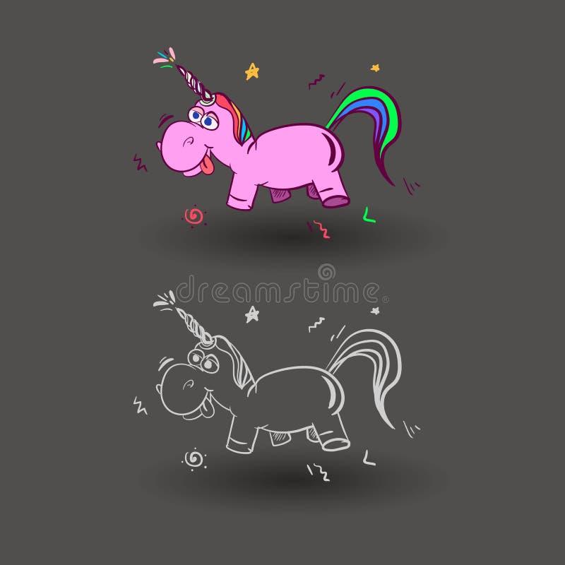 O unicórnio mágico bonito, doce caçoa gráficos para t-shirt Ícone do vetor do unicórnio isolado no cinza Etiqueta principal do ca ilustração do vetor