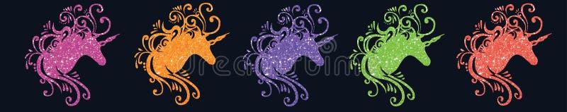 O unicórnio mágico da imagem do unicórnio da silhueta da cabeça do unicórnio da ilustração do unicórnio do brilho representa o un ilustração stock