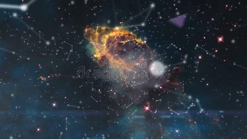O universo encheu-se com as estrelas, a nebulosa e a galáxia Nebulosa e galáxias no espaço Via Látea e luz cor-de-rosa em montanh fotografia de stock