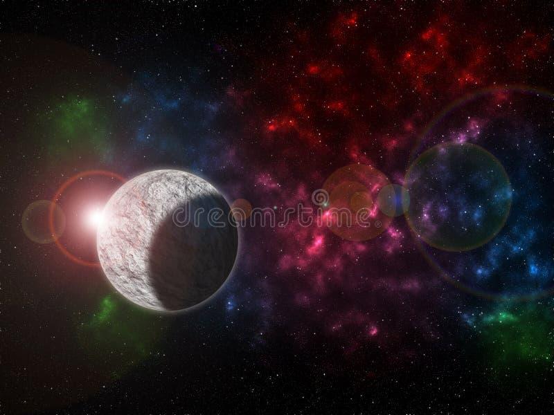 O universo encheu-se com as estrelas, a nebulosa e a gal?xia ilustração royalty free