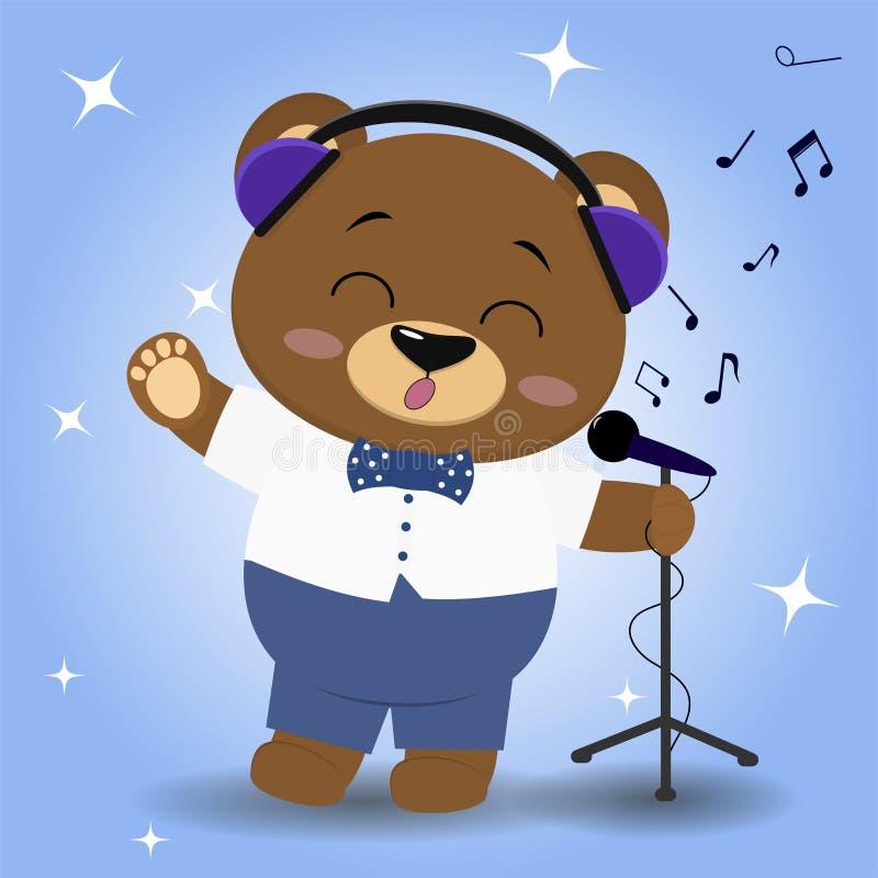 O urso é um cantor marrom em fones de ouvido azuis, em um laço, em uma camisa branca e na calças azul O pé levantado canta no ilustração stock
