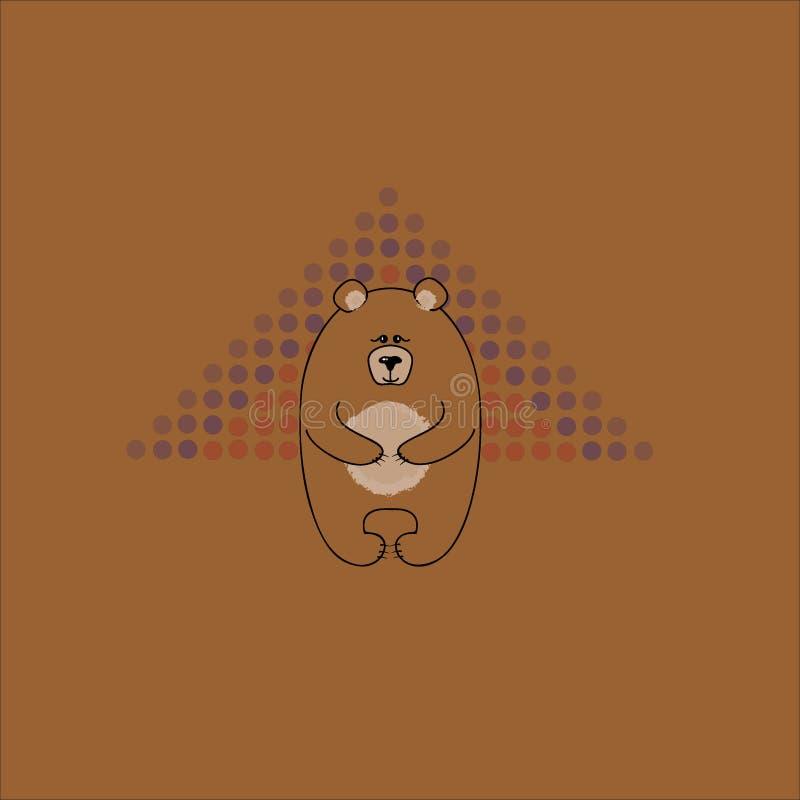 O urso amigável grande Cartão com um urso em um fundo marrom Textura decorativa do vetor foto de stock
