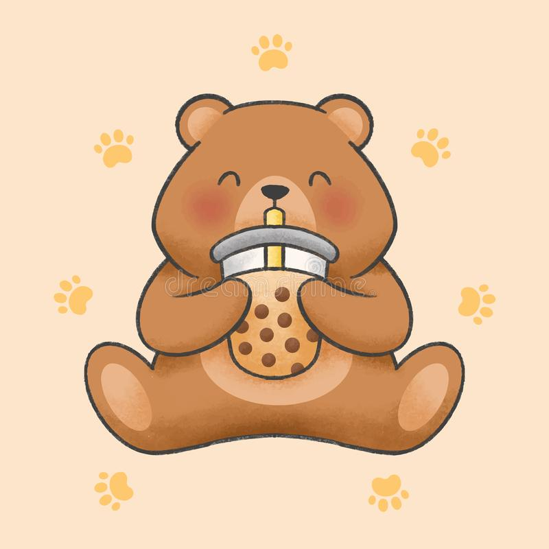 O urso bonito come o estilo tirado mão dos desenhos animados do chá do leite da bolha ilustração royalty free