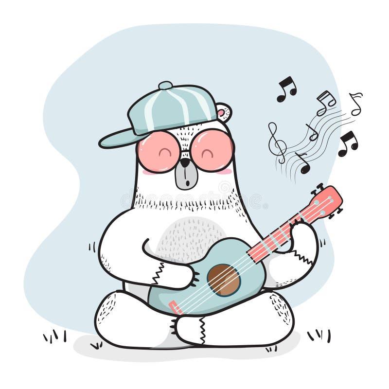 O urso branco da garatuja bonito joga a guitarra ilustração royalty free