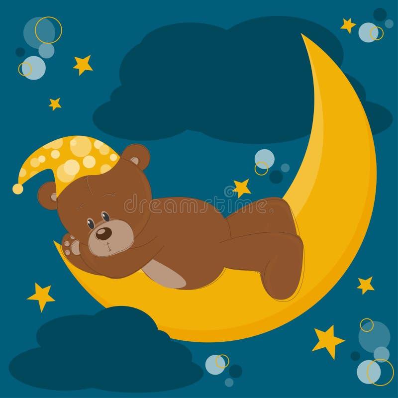 O urso da peluche dorme em uma lua ilustração royalty free