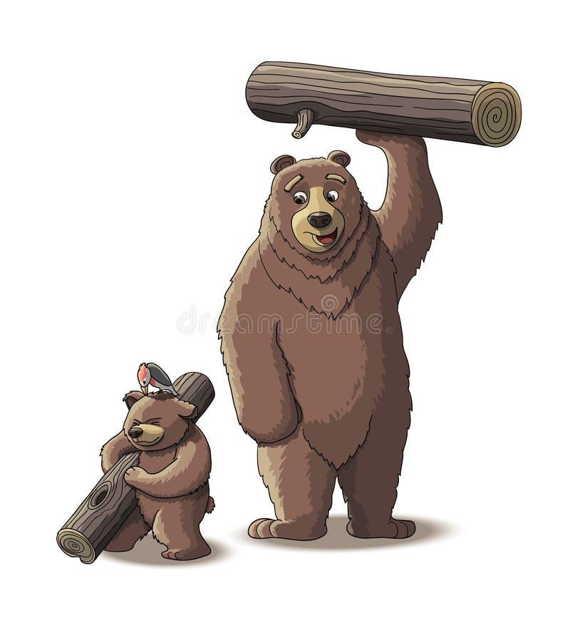 O urso de Brown e o urso do filhote levam a madeira imagens de stock royalty free