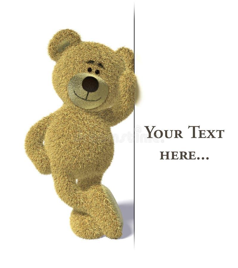 O urso de Nhi inclina-se no quadro de avisos branco vazio. ilustração stock