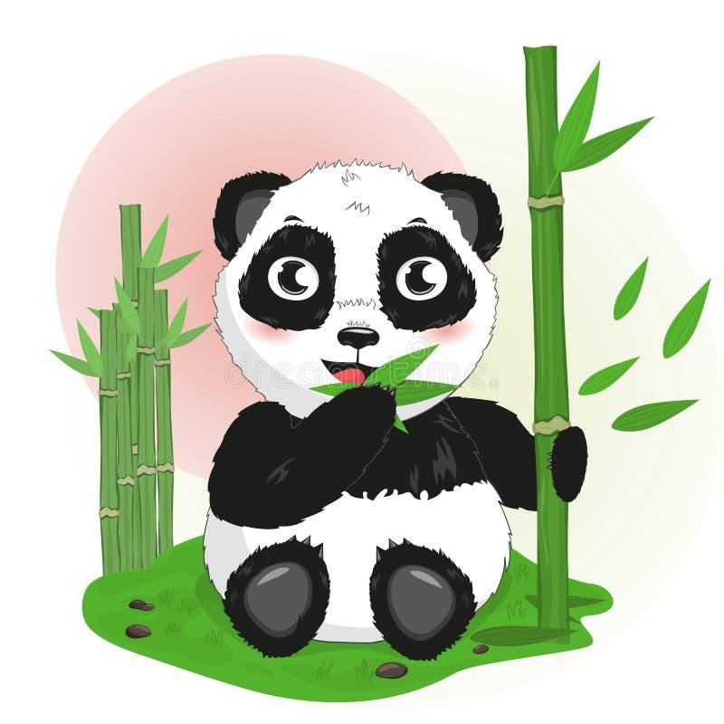 O urso de panda dos desenhos animados come o bambu ilustração royalty free