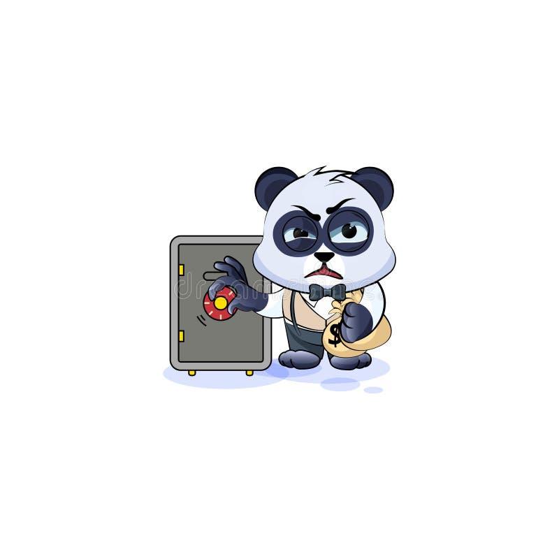 O urso de panda no cofre forte aberto do terno de negócio, esconde o dinheiro ilustração stock