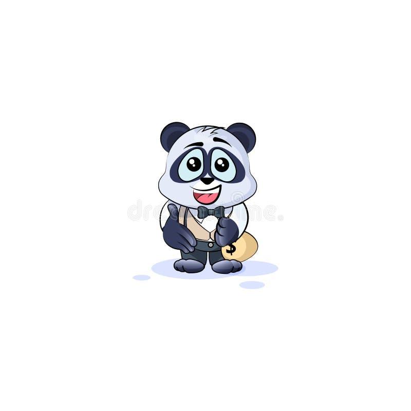 O urso de panda no terno de negócio estende a mão ilustração stock