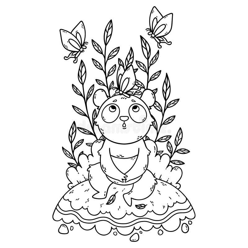 O urso de panda pequena bonito que sentam-se em um prado e as borboletas est?o voando ao redor ilustração stock
