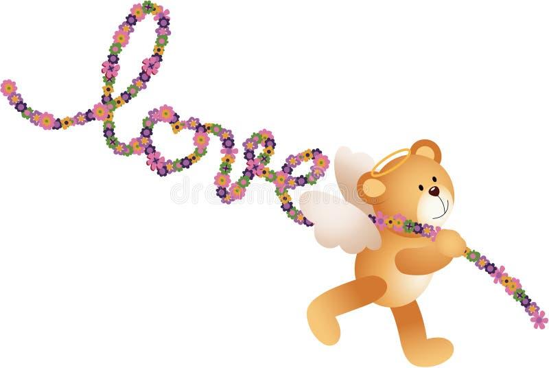 O urso de peluche do cupido com amor da palavra deu forma a flores ilustração royalty free