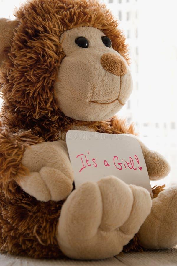 O urso de peluche guarda um cartão do announncement para o bebê, espaço para o texto foto de stock