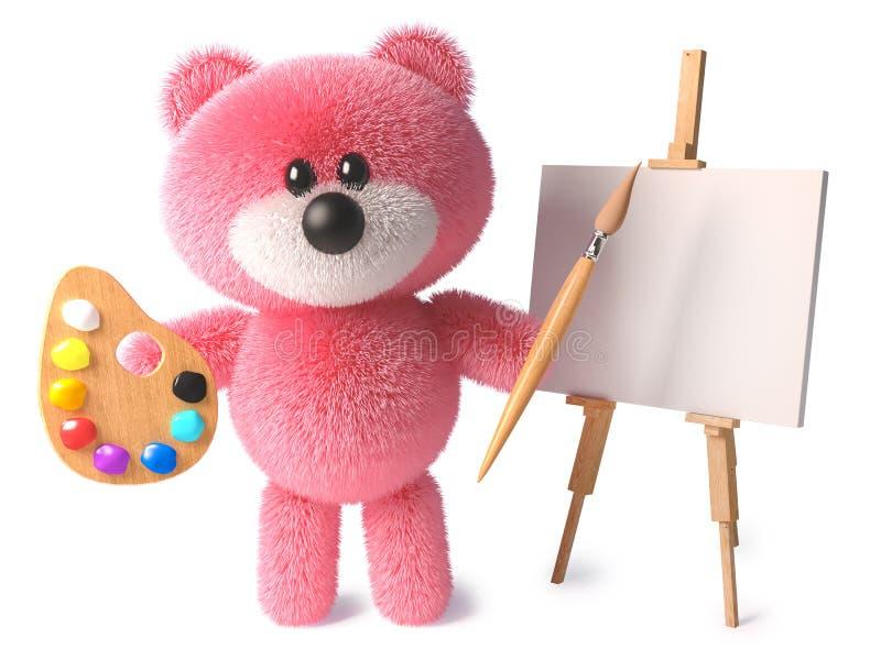 O urso de peluche inteligente com pele cor-de-rosa peluches é um artista com paleta do pincel e armação, ilustração 3d ilustração royalty free