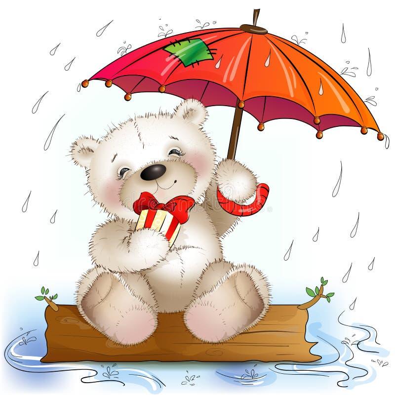 O urso de peluche senta-se com um presente sob o guarda-chuva ilustração do vetor
