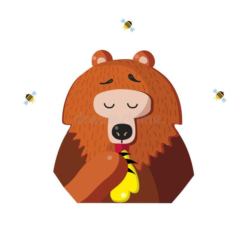 O urso engraçado come o mel de uma pata no fundo branco ilustração royalty free