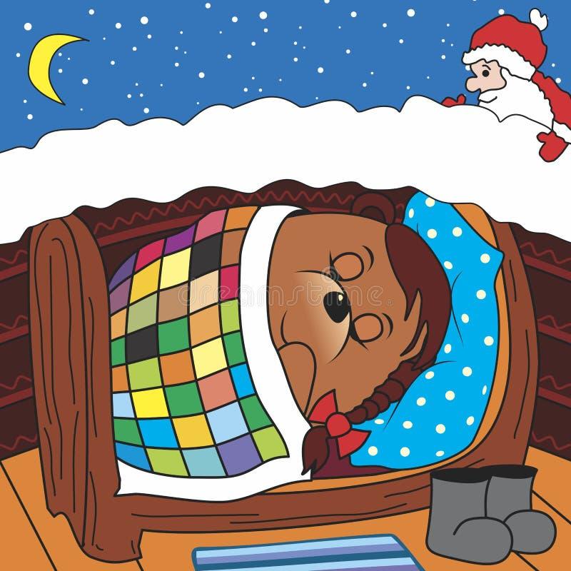 O urso está dormindo ilustração do vetor