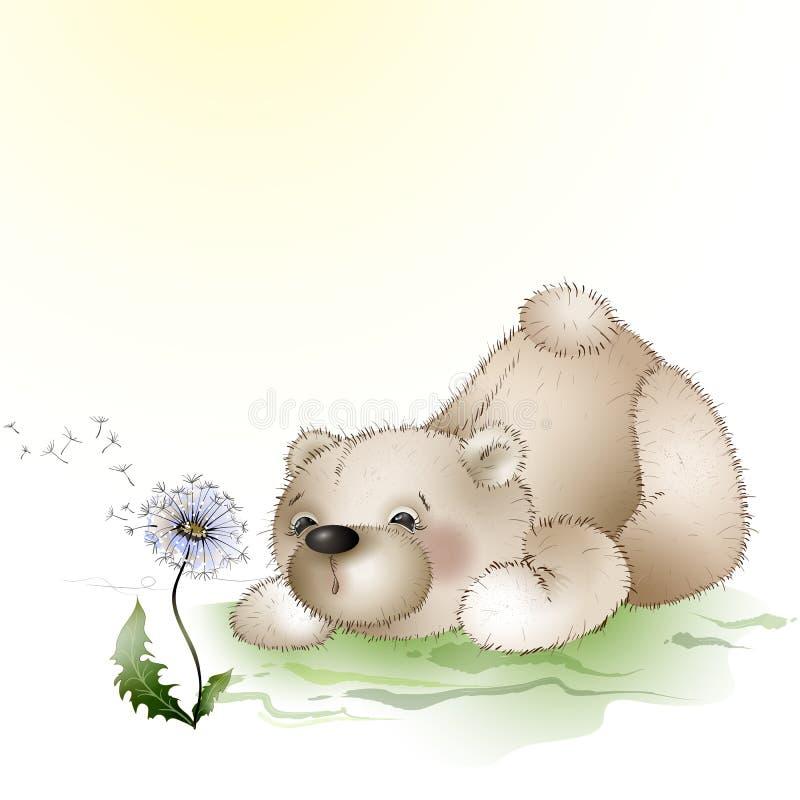 O urso funde em um dente-de-leão ilustração royalty free