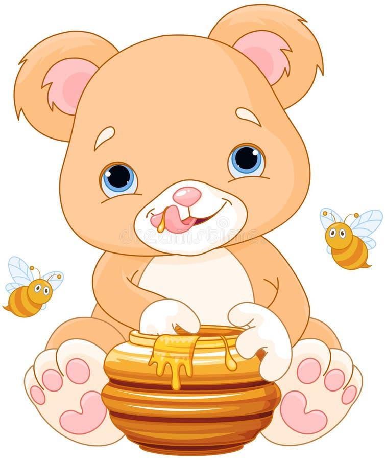 O urso guarda Honey Jar ilustração do vetor
