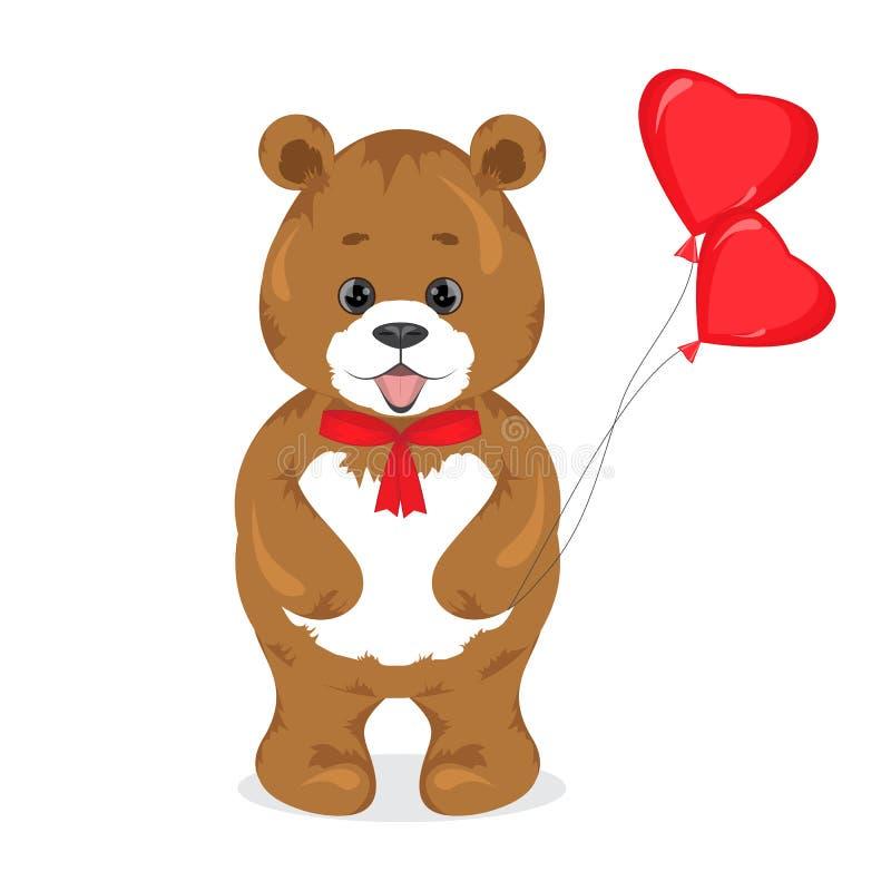 O urso marrom dos desenhos animados bonitos que guarda um vermelho balloons em sua pata plush ilustração do vetor