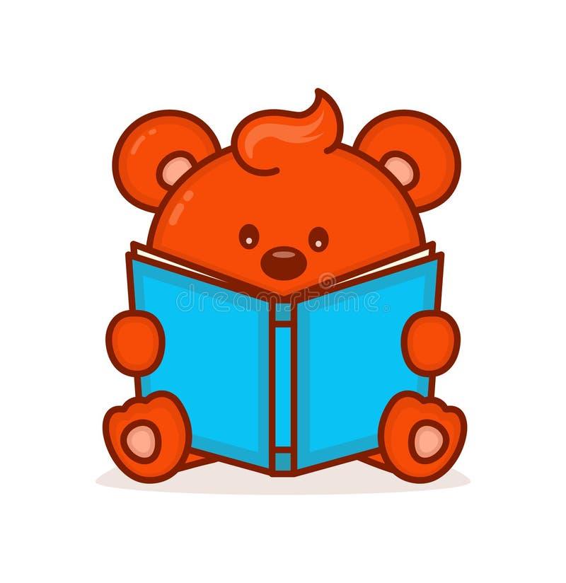 O urso pequeno bonito leu o livro ilustração stock