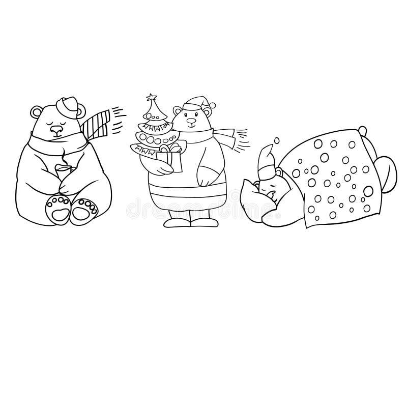 O urso polar de ano novo ilustração stock