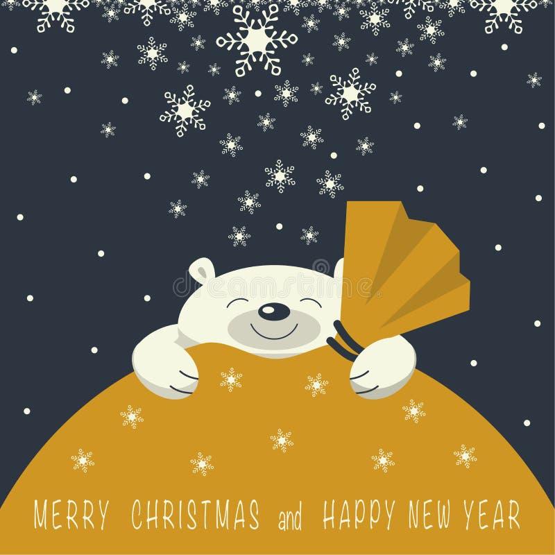 O urso polar de sorriso está no saco amarelo do presente imagem de stock royalty free