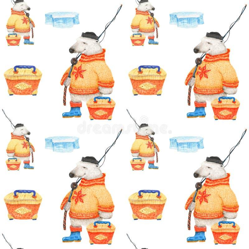O urso polar vai pescar Teste padrão sem emenda da aquarela ilustração stock